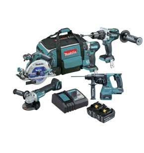 MAKITA 5 PIECE 18V CORDLESS  BRUSHLESS KIT INC 2 X 5.0AH BATTERIES - DLX5027T