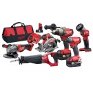 MILWAUKEE CORDLESS M18 FUEL BRUSHLESS  6PCE KIT (PD ID AG SX CS55 TLED) Each