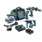 MAKITA 5 PIECE 18V CORDLESS  BRUSHLESS KIT INC 2 X 5.0AH BATTERIES - DLX5027T EACH