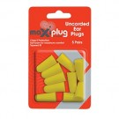 MAXIPLUG Uncorded Foam Earplugs 5 PAIRS