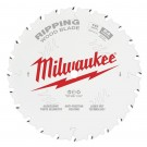 "Milwaukee 254mm (10"") 24-Tooth Ripping Wood Circular Saw Blade 48408020 EACH"