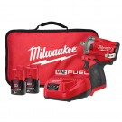 """Milwaukee M12 FUEL Stubby 3/8"""" Impact Wrench - 2 x 2.0Ah Batteries, Charger, Contractor Bag M12FIW38-202B Each"""