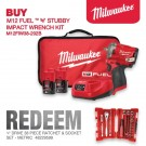 "Milwaukee M12 FUEL Stubby 3/8"" Impact Wrench - 2 x 2.0Ah Batteries, Charger, Contractor Bag M12FIW38-202B Each"