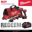 Milwaukee M18 FUEL 3 PIECE POWER PACK 3A2 (FPD2,FID2,CAG125XPD)- 5Ah Kit M18FPP3A2-502B Each