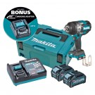 """Makita 40V Max Brushless 3/4"""" Impact Wrench - Includes 2 x 4.0Ah Batteries, Single Port Rapid Charger & Makpac Case Type 2 BONUS: 18V LXT Battery Charging Adaptor (ADP10) Each"""