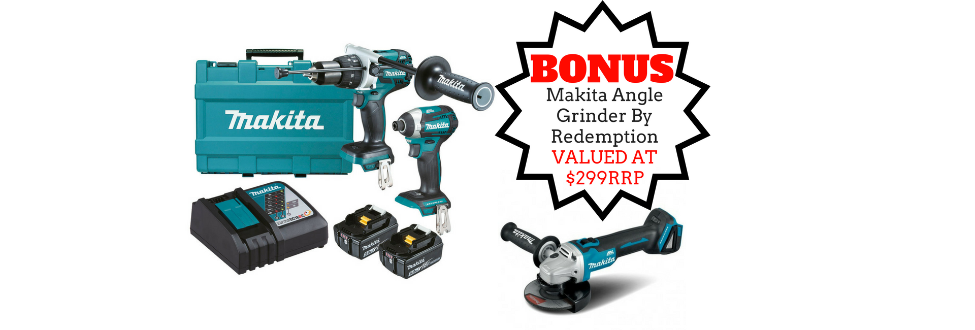Makita 2 Piece Kit with Free Grinder